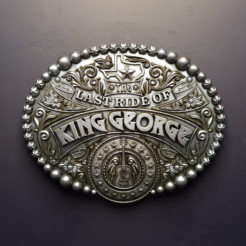 digital-progression; Texas-monthly; last-ride-of-king-george; king-george; badge; metal; belt; render; cgi; metal-badge; old; tarnished