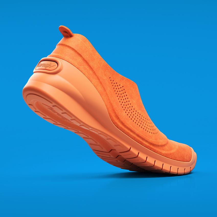 digital-progression; borough; shoe; shoes; 3D-printed; blue; grey; yellow; orange; plastic; malcolm-tween; robert-farnworth; CGI; render