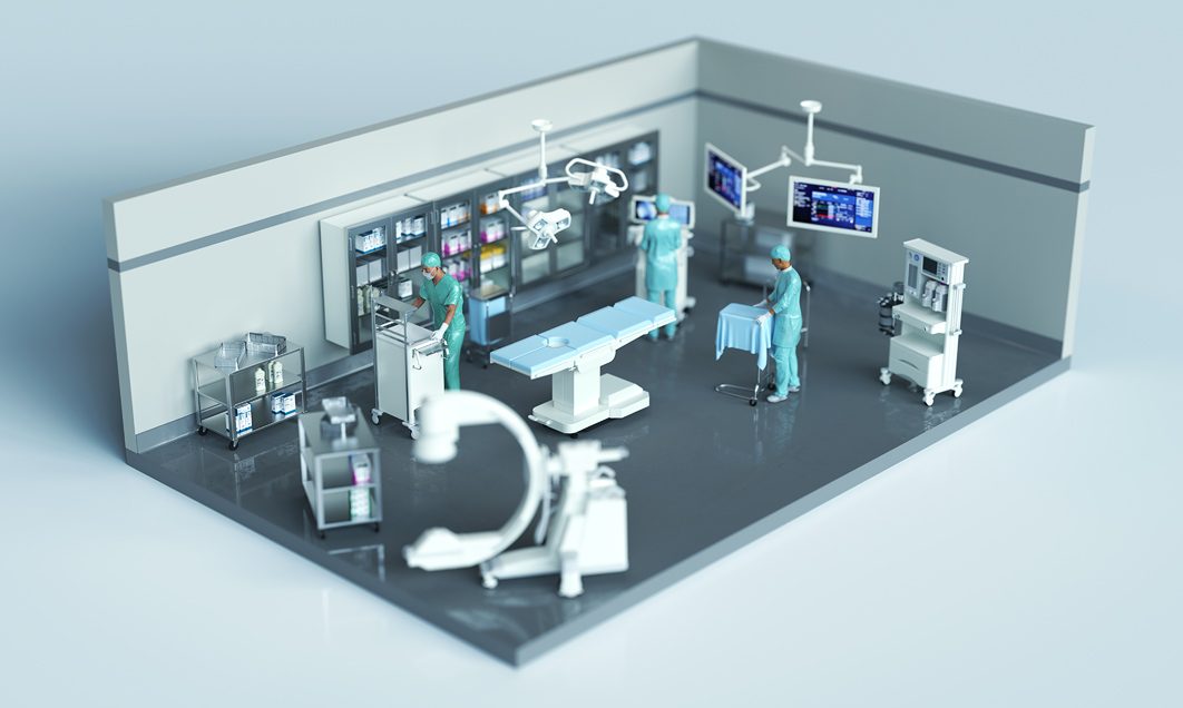 Digital-progression; AGFA; hospital; room; equipment; surgery; operating-theatre; doctor; surgeon; supplies; scanner; diorama