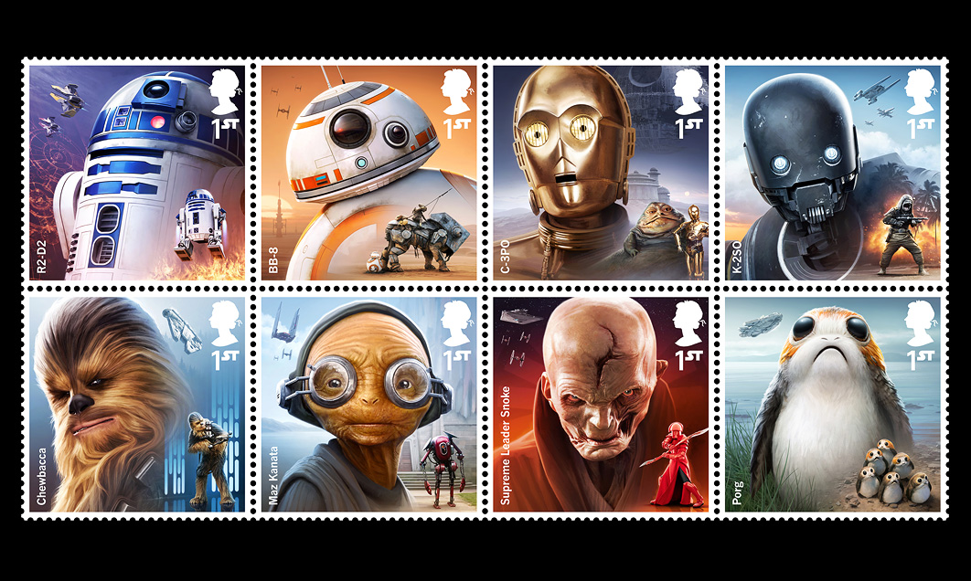 MALCOLM TWEEN; ROYAL MAIL; STAR WARS; STAMPS; starwars; force awakens; episode 7; episode 4; episode 5; malcolm; tween; digital; progression; luke; skywalker; leia; r2d2; c3po; anthony daniels; chewbacca; chewie; peter mayhew; Rey; BB8; K2SO; Porg; Snoke; Maz; Kanata; Chewie; threepio; artoo; luggabeast; pao; hurid; jabba; porglings; porglets; Last; Jedi; TheLastJedi